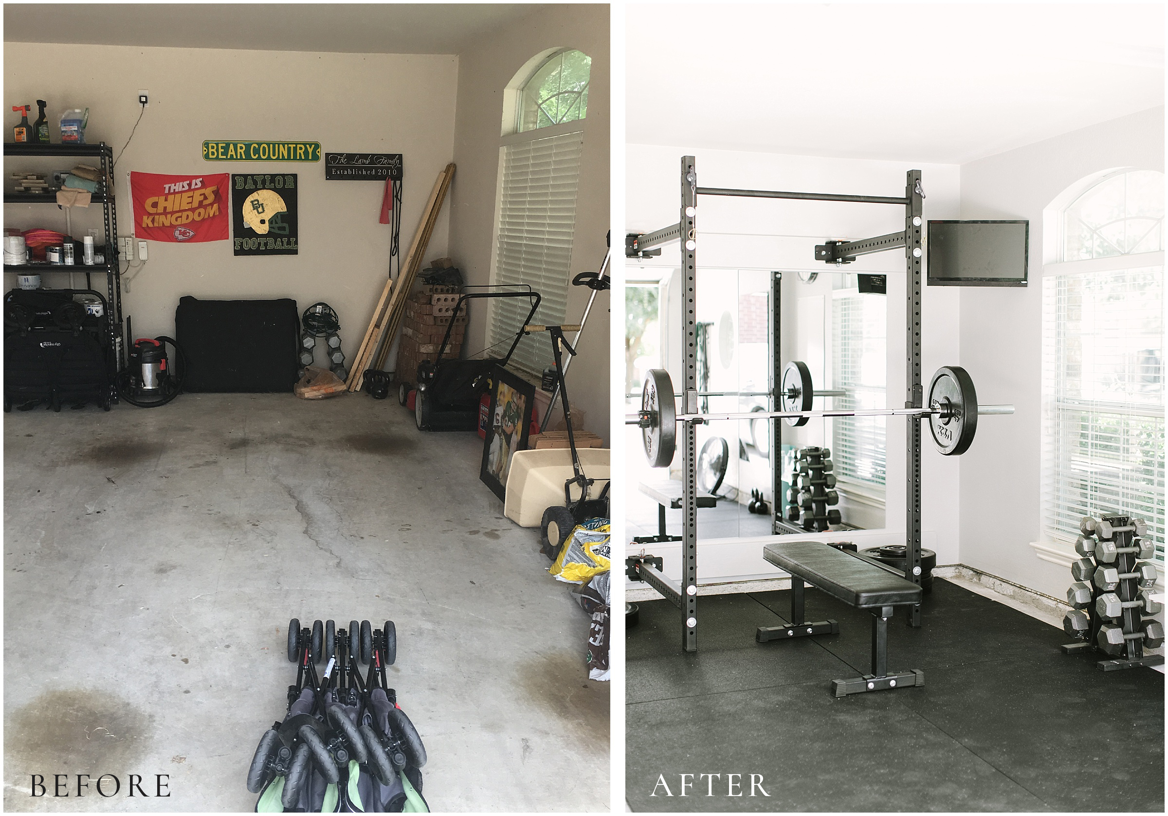 garage gym before after