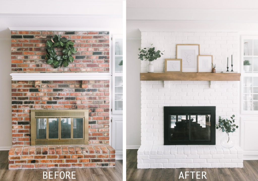 How To Paint Your Brick Fireplace, Pictures Of Painted Fireplaces Before And After